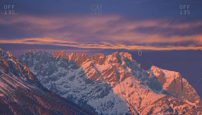 Austria, Tyrol, Wilder Kaiser, Turlturme in the afterglow