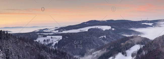 View from the Schwarzwaldhochstrasse / Black Forest High Road towards Glottertal at sundown, Black Forest, Baden-Wurttemberg, Germany