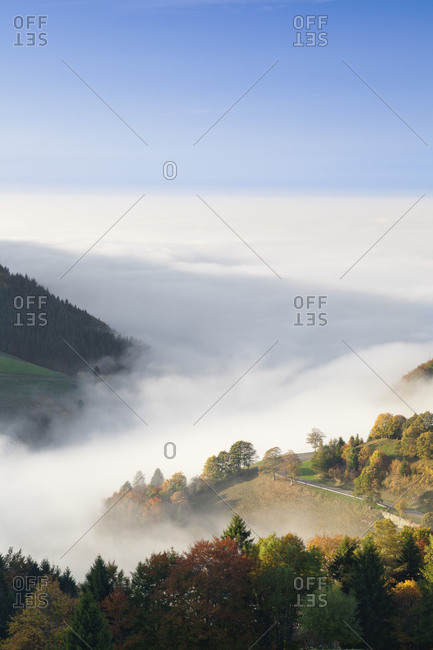 View from the Wiedener Eck to the Rhine plain at fog, Black Forest, Baden-Wurttemberg, Germany