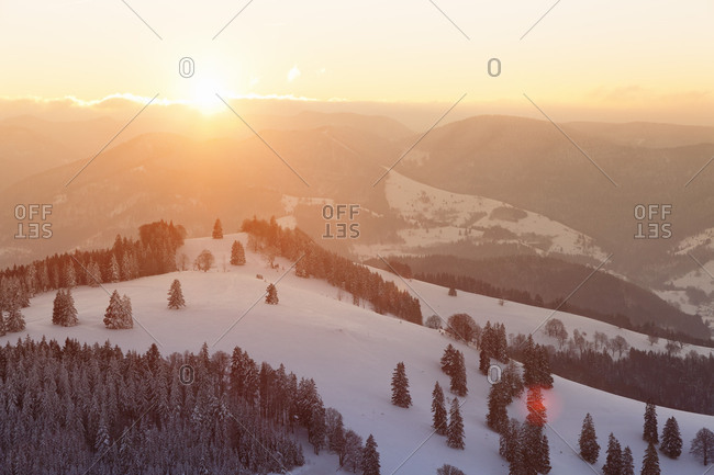 Winter scenery on the Belchen, Black Forest, Baden-Wurttemberg, Germany