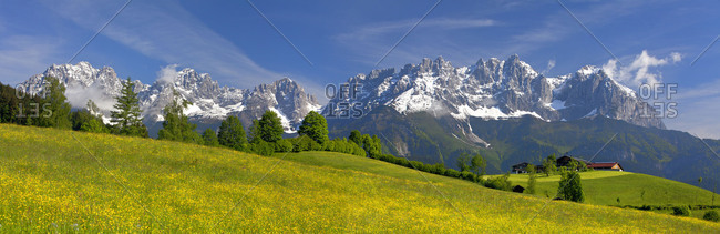 Austria, Tyrol, farm close Kitzbuehel, towards Kaiser Mountains