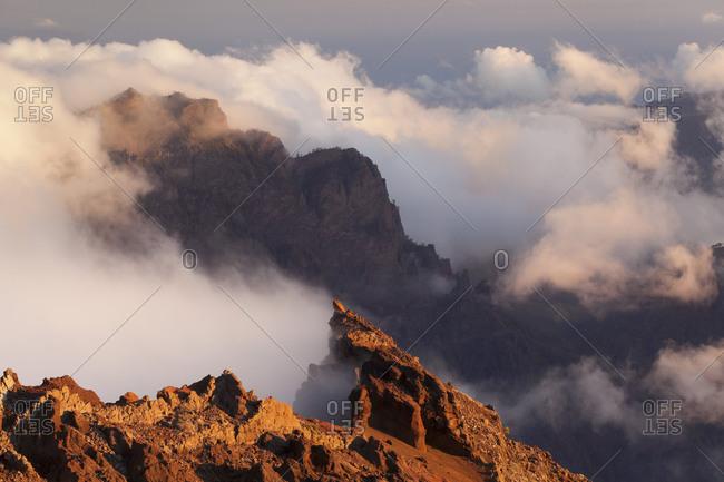 View of Roque de los Muchachos in the Caldera de Taburiente, Parque Nacional de la Caldera de Taburiente, La Palma, Canary islands, Spain