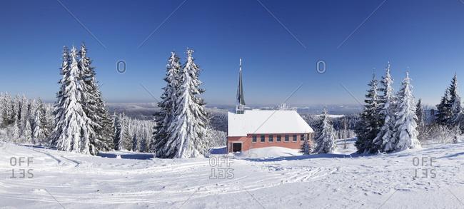 Winter scenery on Kandel close church, Black Forest, Baden-Wurttemberg, Germany