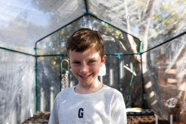 Smiling boy in a greenhouse