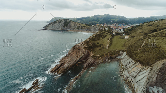 Aerial landscape in Basque Country, Spain