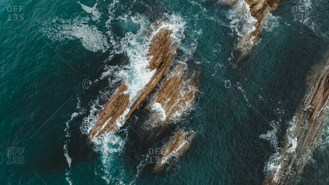 Aerial view of rocks off the coast of Basque Country, Spain