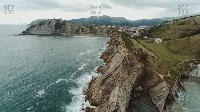 Aerial view of rocky coast in Basque Country, Spain