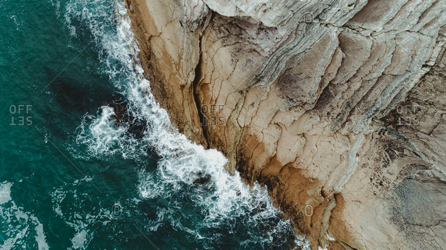 Aerial view of rocks on the coast of Basque Country, Spain