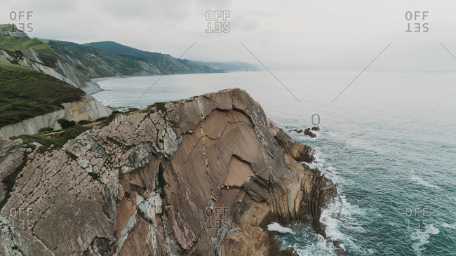 Bird's eye view of rocky coast of Basque Country, Spain