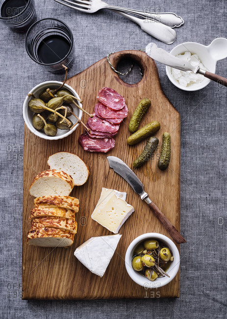 Overhead view of a charcuterie board