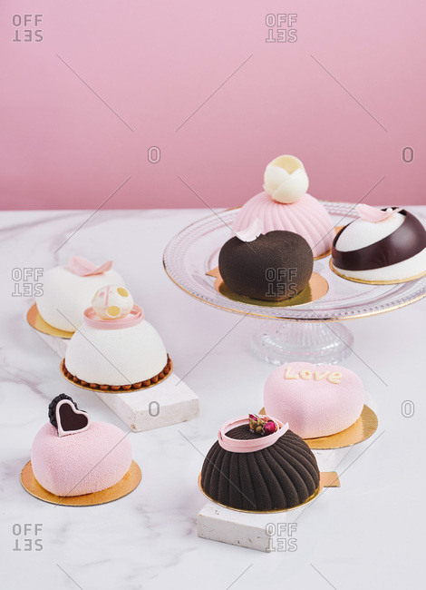 Various of desserts on a table