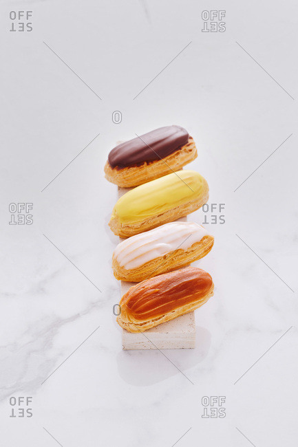 French eclairs with icing