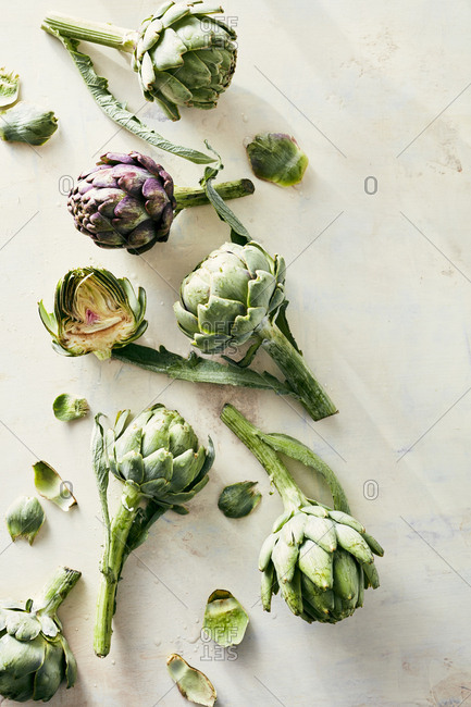 Freshly cut artichokes