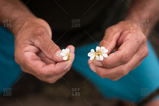 Mid section of fisherman holding flowers