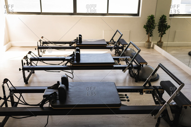 Modern stretching machine in fitness studio