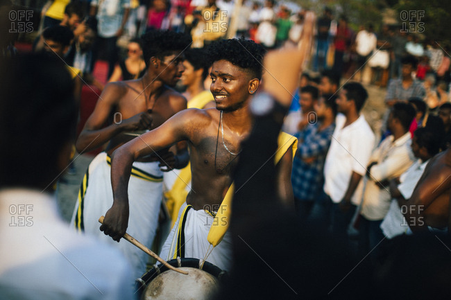 Fort Kochi, India - February 11, 2018: University students play traditional music at a small festival at Mahatma Gandhi Beach