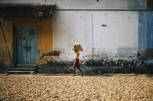 Fort Kochi, India - February 12, 2018: A man carries bags of ginger at a spice market in Mattancherry