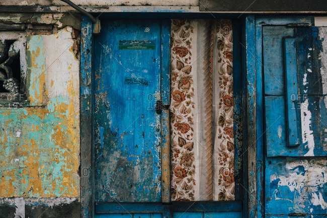 Fort Kochi, India - February 12, 2018: Detail of a colorful house in the Muslim quarter