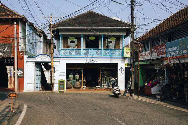 Fort Kochi, India - February 12, 2018: The streets of Mattancherry, the original Jewish settlement and origin of the spice route in Fort Kochi