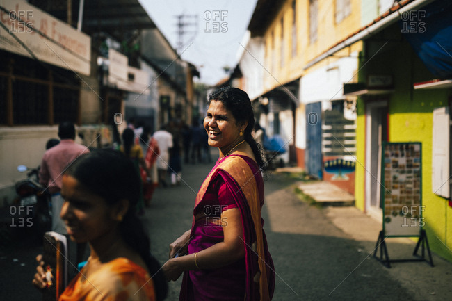 Fort Kochi, India - February 12, 2018: Woman in the streets of Mattancherry, the original Jewish settlement and origin of the spice route in Fort Kochi
