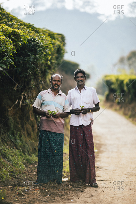 Munnar, India - February 16, 2018: A portrait of two workers on a tea plantation