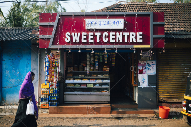 Alleppey, India - February 18, 2018: Traditional Indian sweets for sale at a small shop
