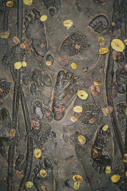 My Lai, Vietnam - October 2, 2017: Soldiers' boots and barefoot designed into the walkways at the My Lai Massacre Museum in Quang Ngai Province