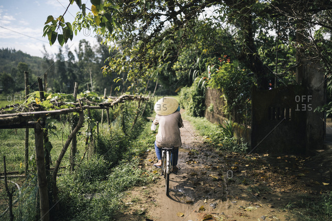 My Lai, Vietnam - October 4, 2017: An Vietnamese woman cycles along a trail through rice fields in My Lai, Vietnam, on roughly the same path US soldiers would have walked nearly 50 years previously