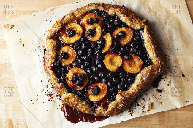 Blueberry and apricot galette