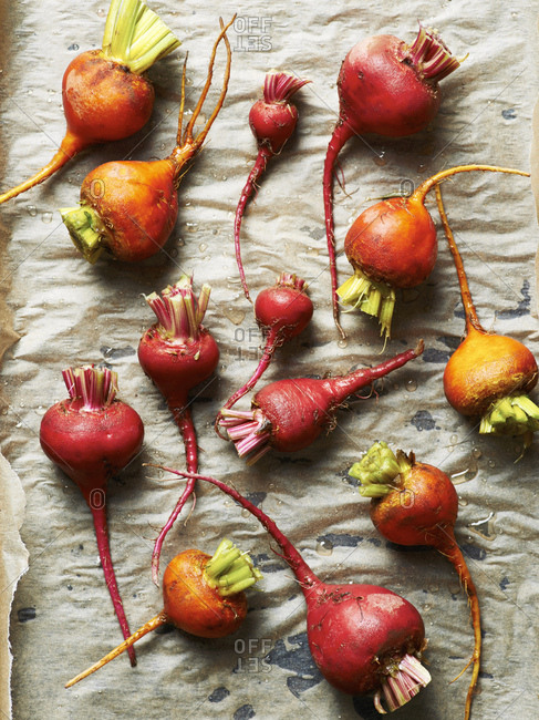 Colorful  beetroot on baking sheet prepped for roasting
