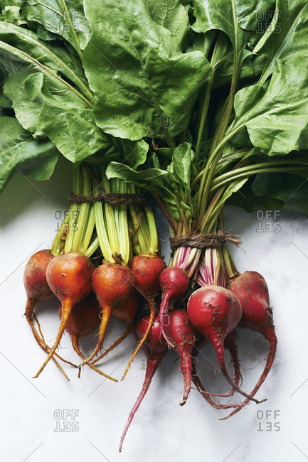 Chioggia and Golden beetroot bunches from the farmers market