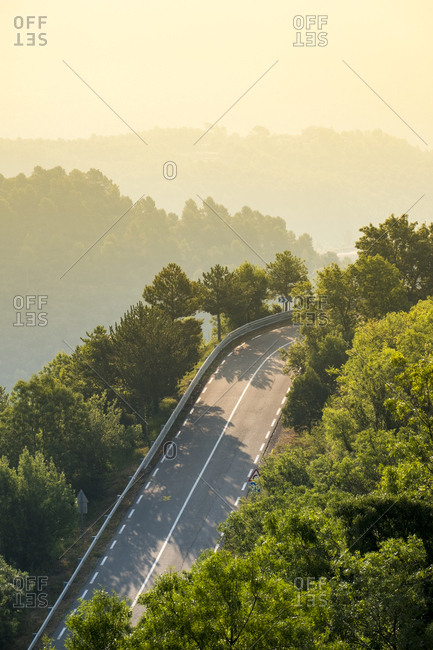 Aerial view of a highway in the Catalan Pre-Pyrenees, Spain