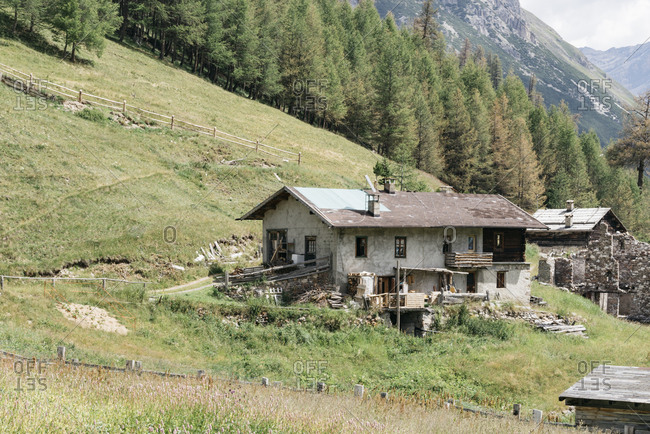 Historic houses in small village in the Italian Alps