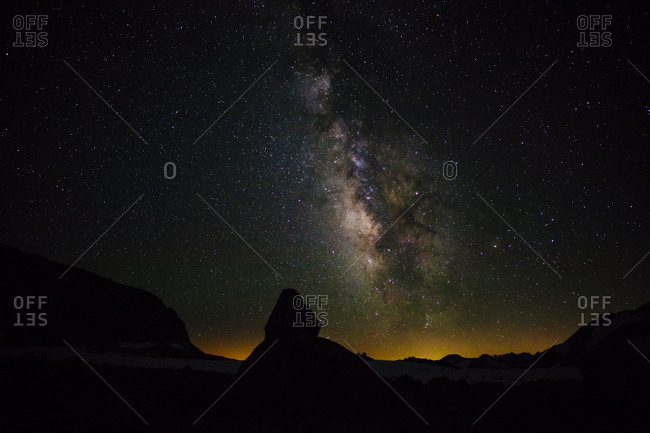 Scenic view of silhouette landscape against milky way at night in Sequoia National Park