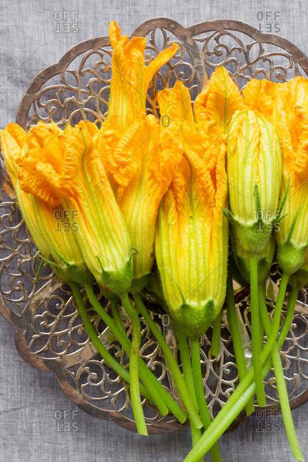Close-up of freshly picked squash blossoms on linen background