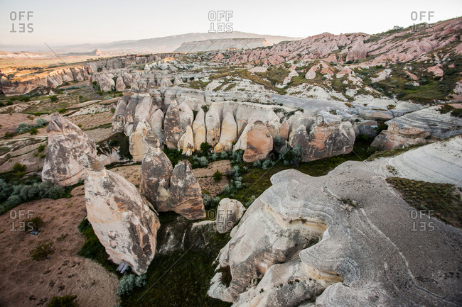A view of the rock structures in Cappadocia, Turkey