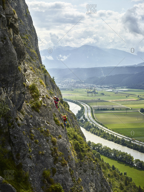 Austria- Tyrol- two rock climbers in Martinswand