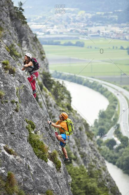Austria- Tyrol- two rock climbers in Martinswand