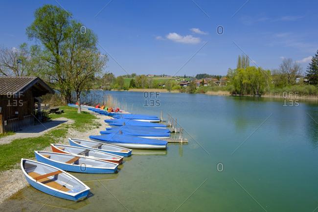 Germany- Bavaria- Upper Bavaria- Chiemgau- Rupertiwinkel- Waginger See- Tachinger See near Tettenhausen- boat rental