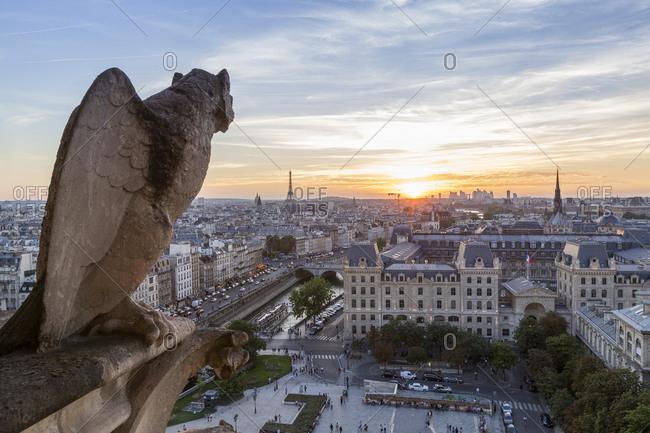 France- Paris- View from Notre Dame de Paris- city view at sunset