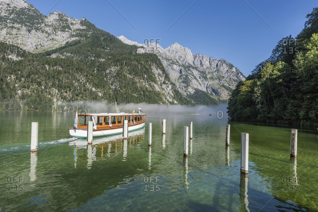 Germany- Bavaria- Berchtesgaden Alps- Lake Obersee- ferry