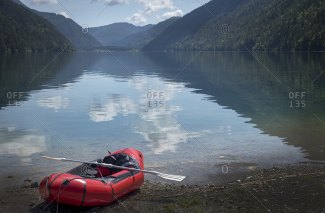 Austria- Carinthia- Weissensee- empty inflatable boat