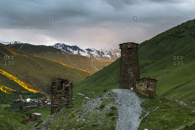 Georgia- Svaneti- Samegrelo-Zemo Svaneti- Ushguli- defense tower in the evening