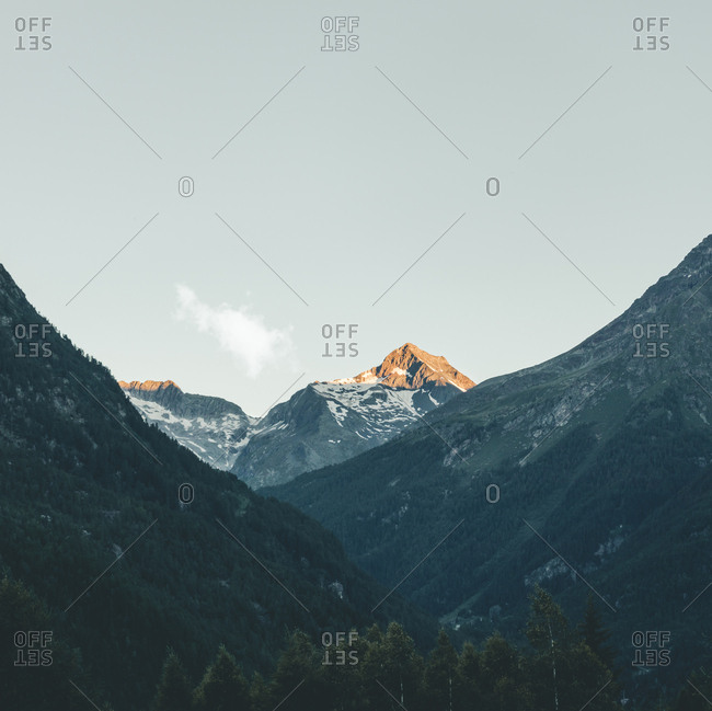 Italy- Lombardy- Chiesa in Valmalenco- mountaintop in the morning light
