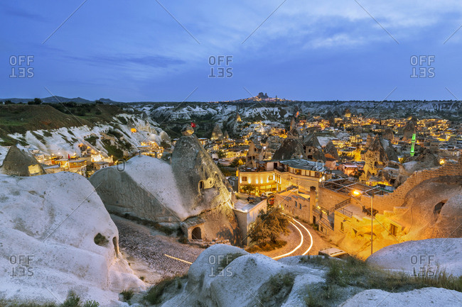 Turkey- Aksaray Province- Guezelyurt- Cappadocia- Goereme in the evening