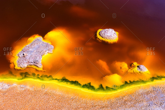 Spain- Andalusia- water of the Rio Tinto- colored by dissolved minerals- primarily iron