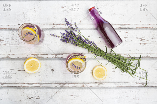 Homemade lavender lemonade with lemon- lavender syrup