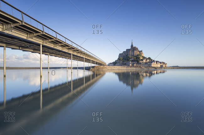 France- Normandy- view to lighted Mont Saint-Michel- blue hour