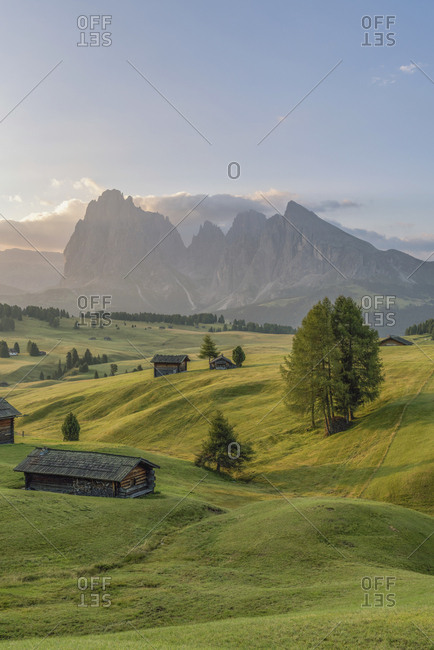 Italy- South Tyrol- Seiser Alm- barns in the morning