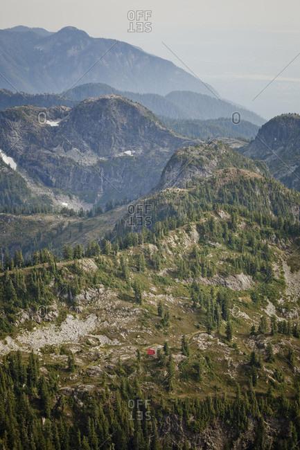 Beautiful natural scenery of mountains, Brunswick Lake Hut, Howe Sound Crest Trail, Vancouver, British Columbia, Canada